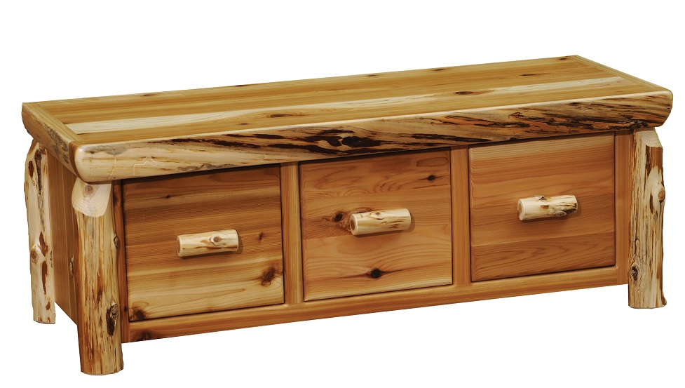 Cedar Entry Bench with Three Drawers