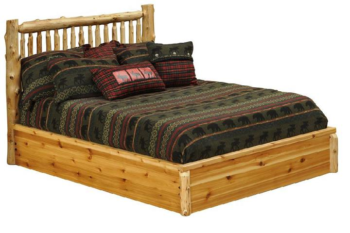 Cedar Small Spindle Platform Style Bed