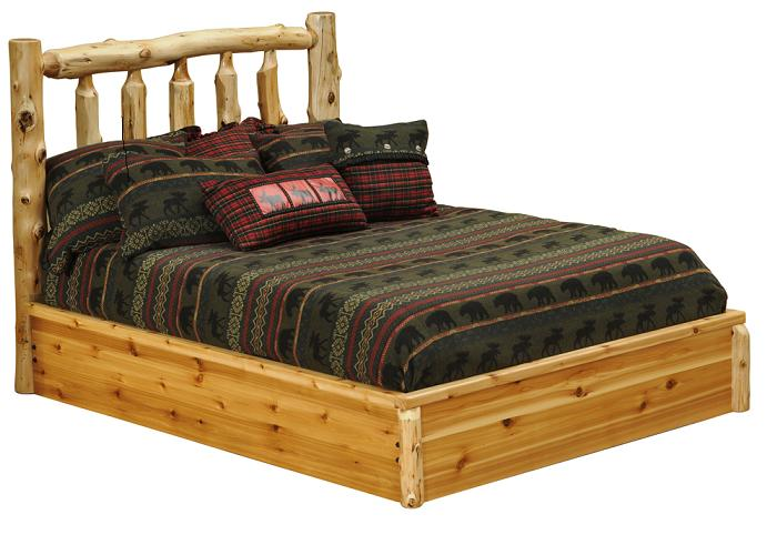 Cedar Traditional Log Platform Style Bed Lodge Craft