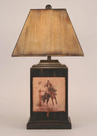 Cowboy Scene Table Lamp