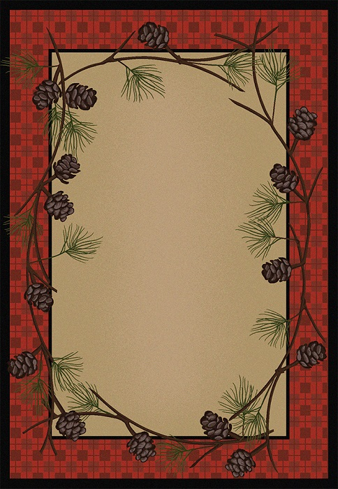 Delicate Pines - Red Plaid Rug