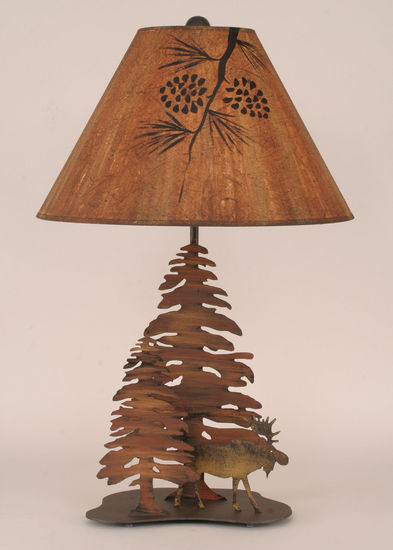 Double Pine Tree W/Moose Table Lamp