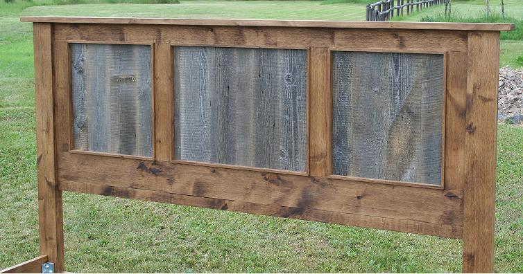 Rustic Barnwood Headboard w/ Alder Panel: Buy on Lodge Craft