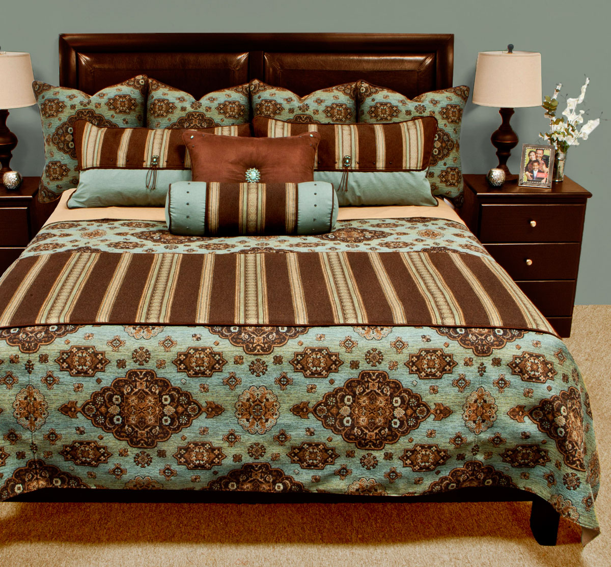 Kensington teal bedding set Teal bedding sets