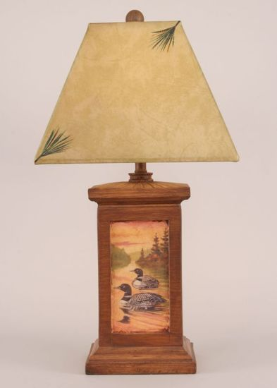 Lake loon scene table lamp rustic cabin lighting lodge craft lake loon scene table lamp mozeypictures Image collections