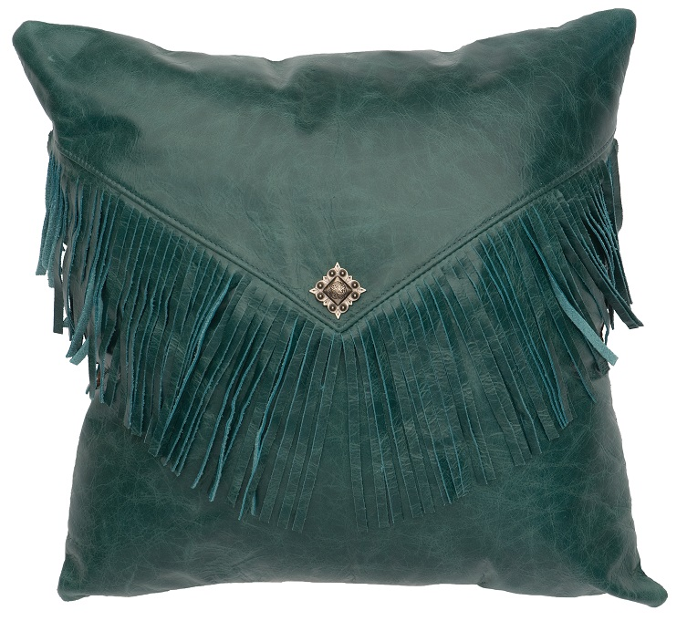 Square Peacock Leather Pillow WD1443