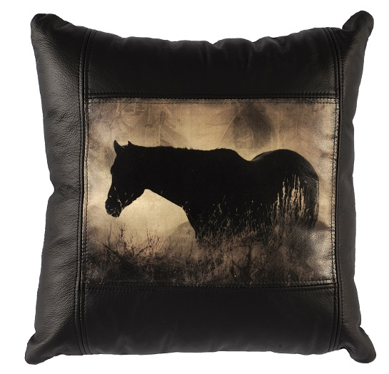 Square Leather Pillow with Horse WD1954