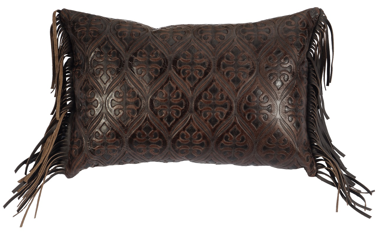 Rectangular Gateway Embossed Leather Pillow WD2205