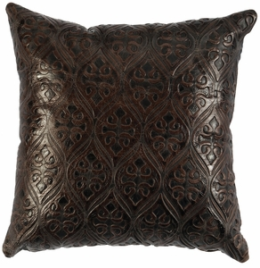 Square Gateway Embossed Leather Pillow WD2206