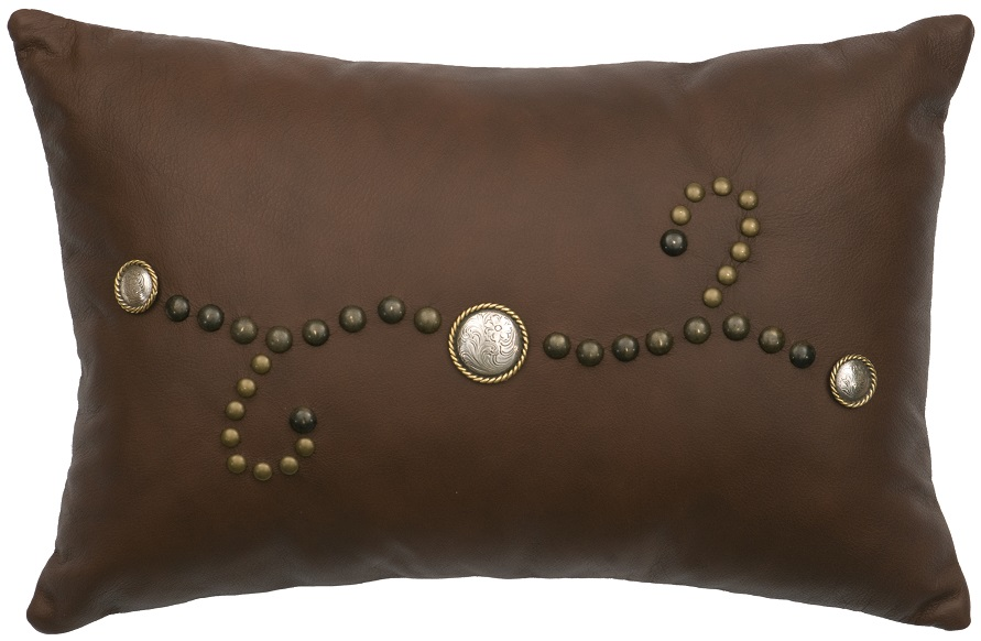 Rectangular Studded Leather Pillow WD778
