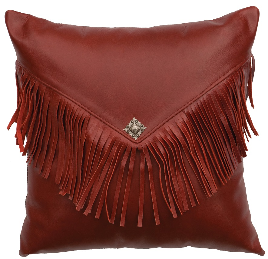 Fringed Red Leather Pillow WD80205