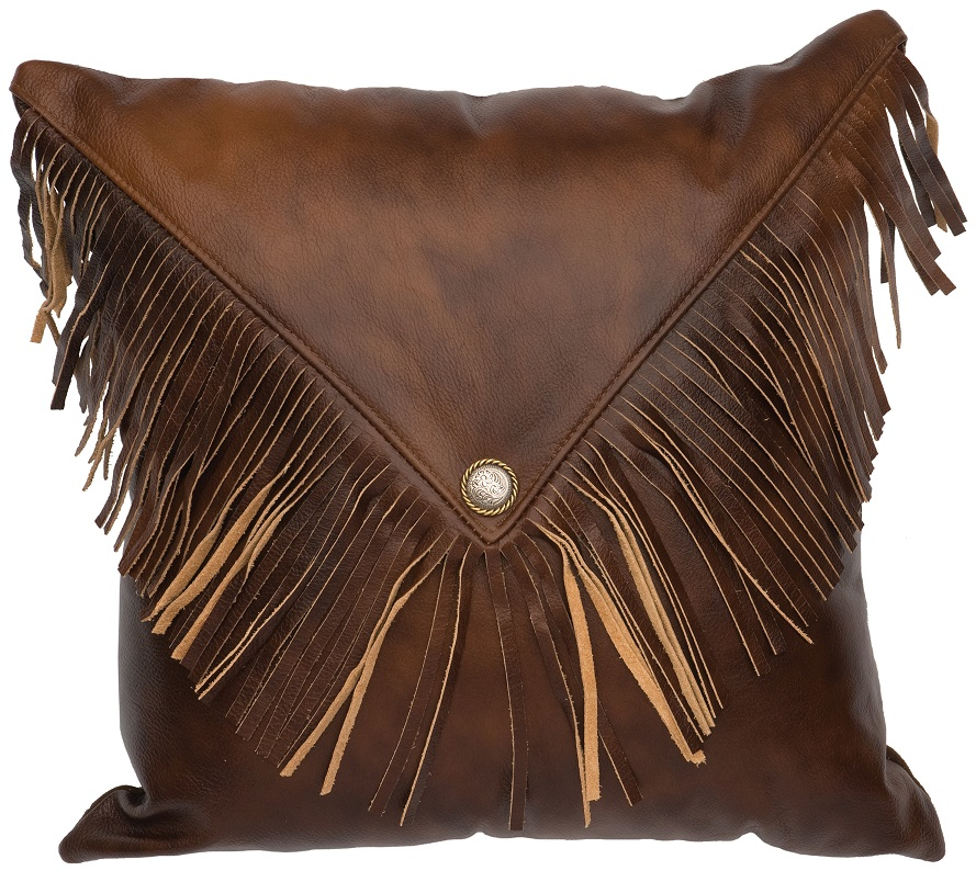 Harness Leather Pillow with Fringe WD80214