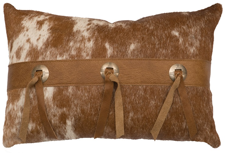 Banded Rectangular Hide-on-Hair Leather Pillow WD80302