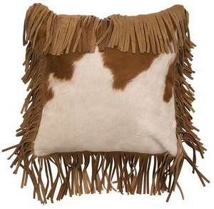 Fringed Brown and White Hair-on-Hide Leather Pillow WD80307