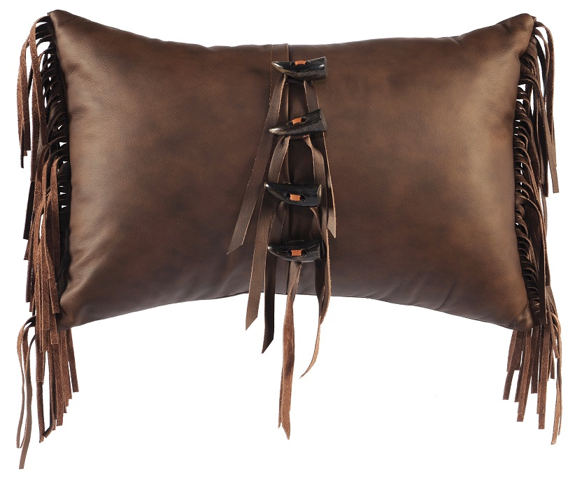 Toggles and Fringe Leather Pillow WD974