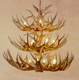 Mule Deer 3-Tiered 16-Lamp Antler Chandelier