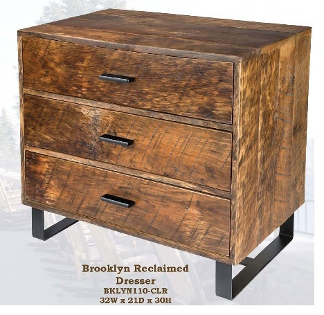 Old Hickory Brookly Reclaimed 3 Drawer Dresser