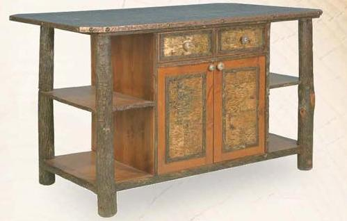 Old Hickory Kitchen Island with Birch Bark Accents