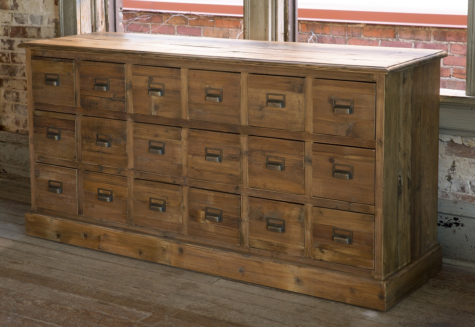 Superb Old Pine Seed Bin Cabinet