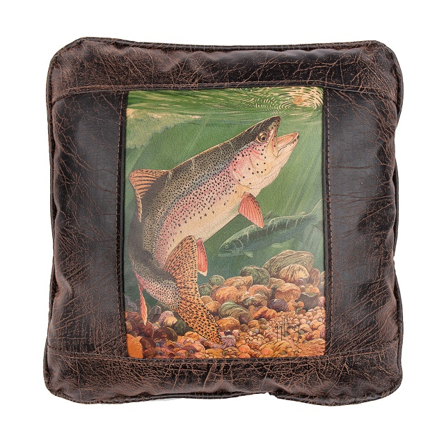 imitation dp trout puffa fish fladen or fishing cushion pillow soft toy rainbow brown ngbzl