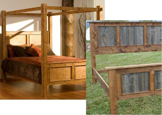 Unique Rustic Barnwood/Alder Canopy Bed - Rustic Beds for Sale: Lodge Craft HU62