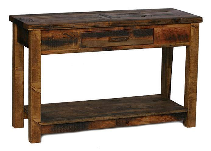 Weathered pine sofa table w 1 drawer shelf lodge craft - Pine sofa table with drawers ...