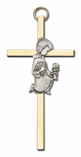 Antique Silver Communion Girl on a Polished Brass Cross