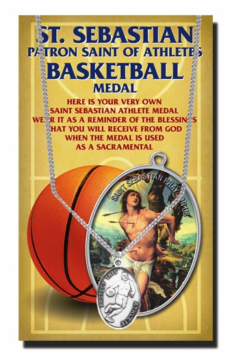 Basketball Male St Sebastian Athlete Sports Necklace with Prayer Card by Hirten