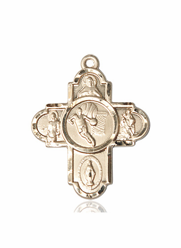 Basketball Patron Saint 5-Way Cross 14kt Gold Medal Necklace by Bliss