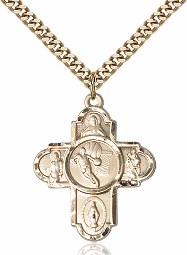 Basketball Patron Saint 5-Way Cross Gold-Filled Medal Necklace by Bliss