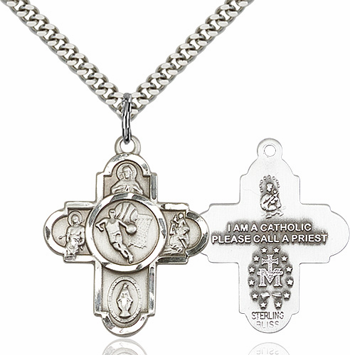Basketball Saint 5-Way Cross Sterling Silver Sports Medal Necklace by Bliss