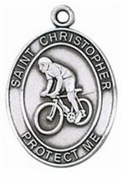 Biking Sterling Silver Sports Medal Necklace with Chain by Jeweled Cross