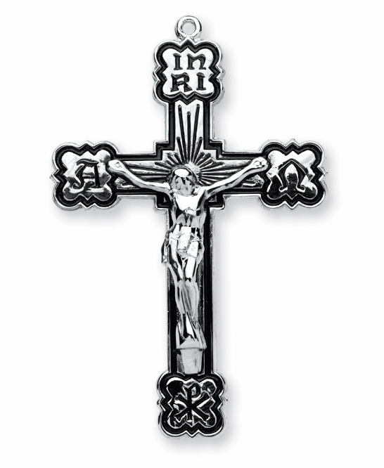 Black Enamel Alpha and Omega Sterling Silver Crucifix Necklace by HMH Religious