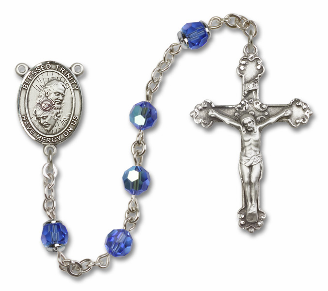 Blessed Trinity Patron Saint Sapphire Swarovski Sterling Rosary by Bliss
