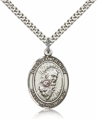 Blessed Trinity Pewter Patron Saint Necklace by Bliss