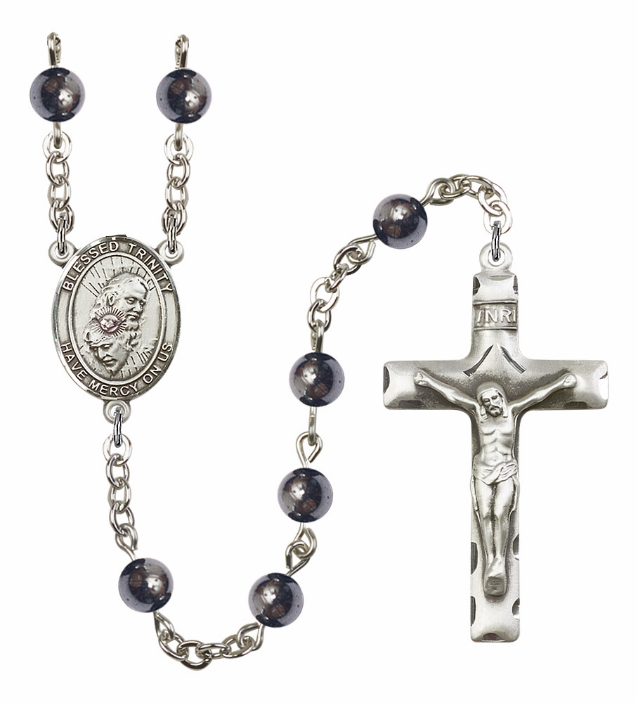 Blessed Trinity Silver Plate Gemstone Prayer Rosary by Bliss