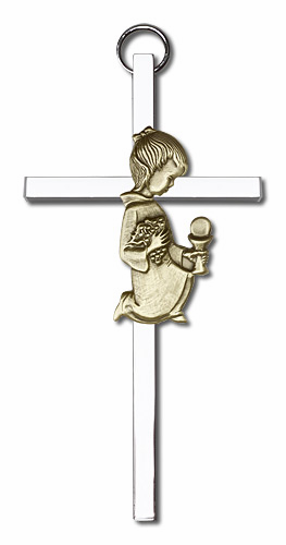 Bliss Antique Gold Communion Girl on Silver Finish Cross
