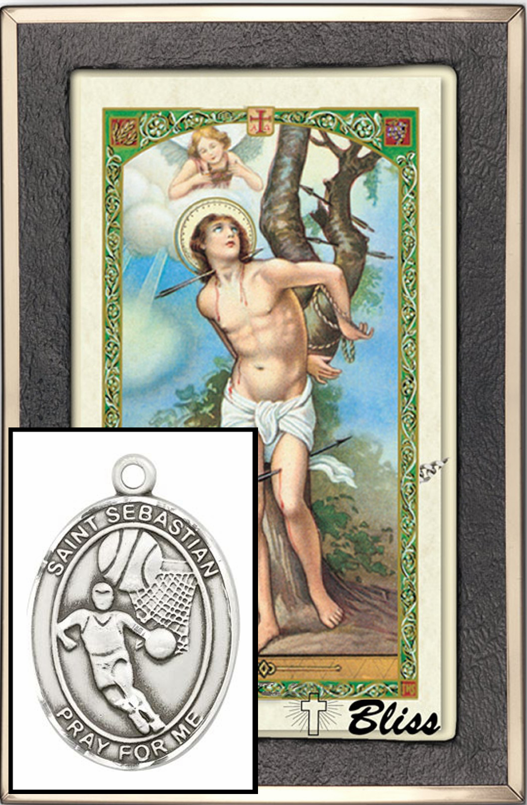 Bliss Basketball St Sebastian Prayer Card & Sterling-Filled Necklace