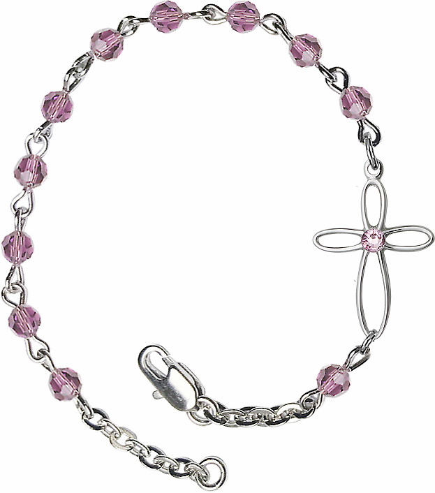 Bliss Birthstone Bracelets w/Silver-plated Loop Cross