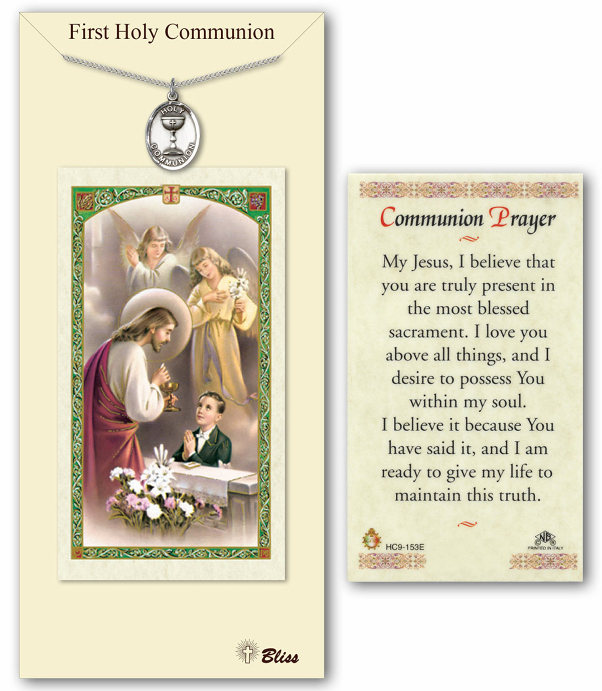 Bliss Boys First Holy Communion Pewter Medal Pendant and Prayer Card Set