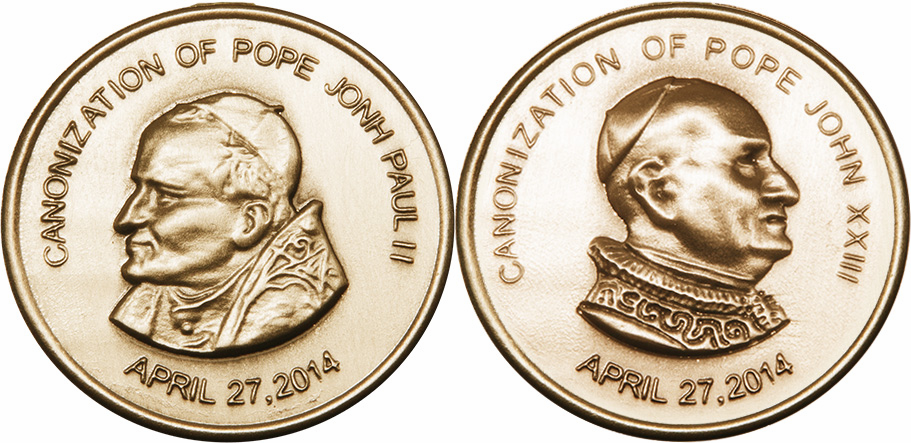 Bliss Canonization of Pope John Paul II and Pope John XXIII 14kt Gold Pocket Piece Medal