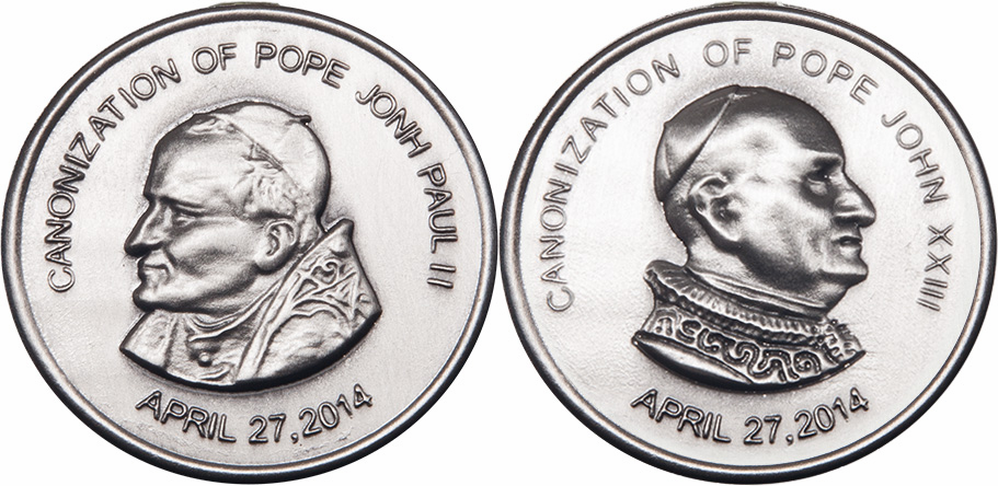 Bliss Canonization of Pope John Paul II and Pope John XXIII Sterling Silver Pocket Piece Medal