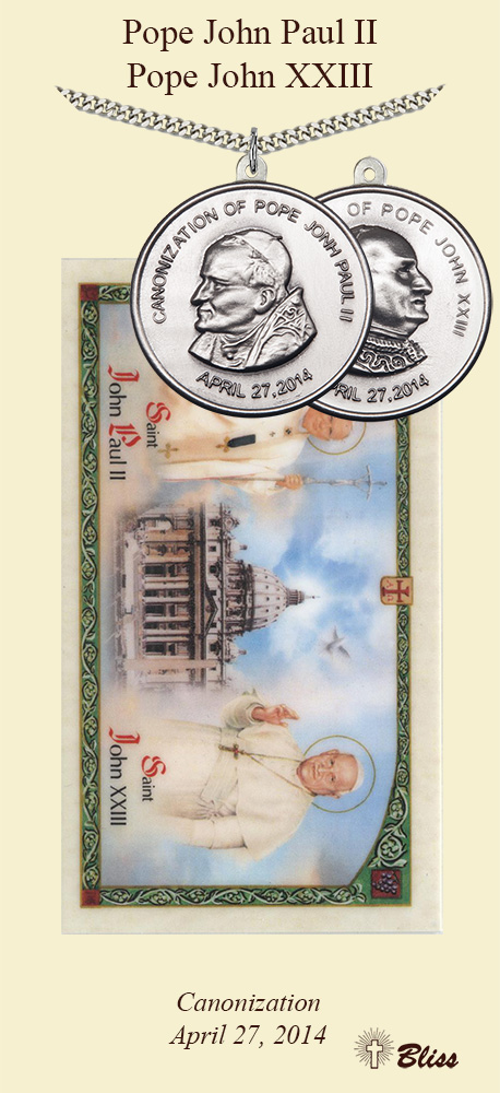 Bliss Canonization Pope John Paul II & Pope John XXIII Pewter Medal Prayer Card