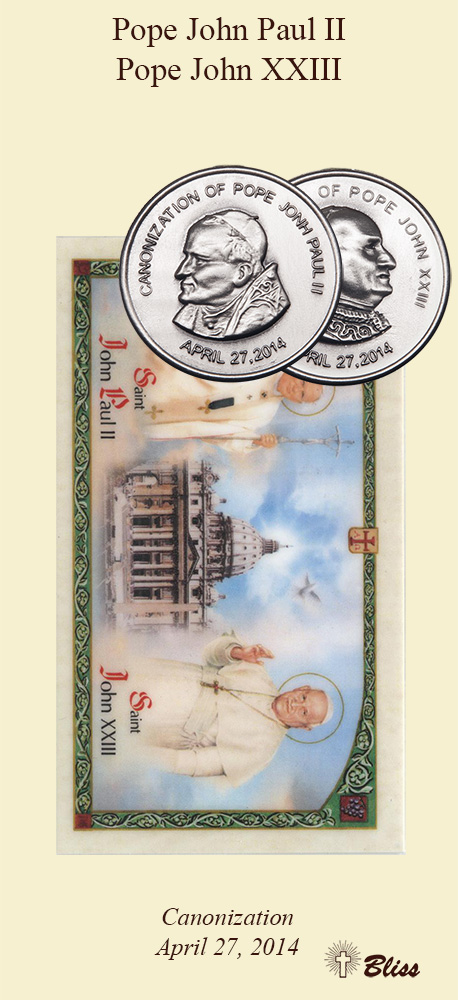 Bliss Canonization Pope John Paul II & Pope John XXIII Pewter Medal Prayer Card Gift Set