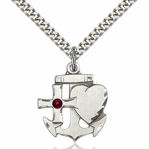 Bliss Faith, Hope and Charity Sterling Silver Janurary Garnet Birthstone Swarovski Crystal Pendant