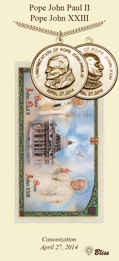 Bliss Manufacturing Canonization Pope John Paul II & Pope John XXIII Medallion Prayer Card Gift Set