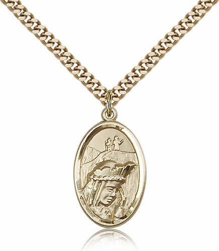 Bliss Manufacturing Our Lady of La Salette 14kt Gold Filled Pendant Necklace