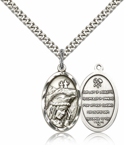 Bliss Manufacturing Our Lady of La Salette Sterling Silver Pendant Necklace