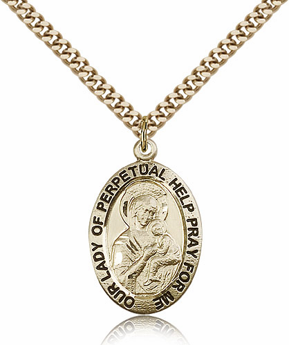 Bliss Manufacturing Our Lady of Perpetual Help 14kt Gold Filled Patron Medal Necklace