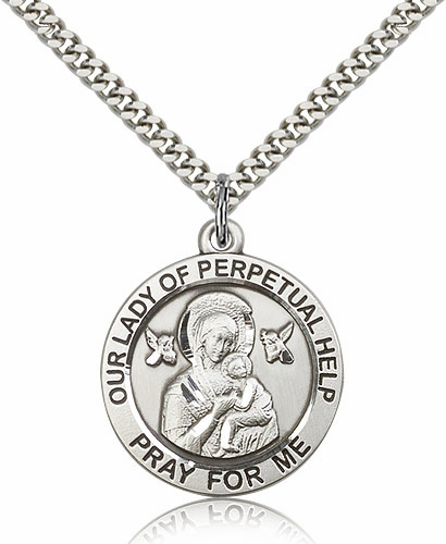 Bliss Manufacturing Our Lady of Perpetual Help Sterling Silver Patron Medal Necklace